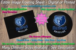 Memphis Grizzlies Basketball Edible Image Frosting Sheet #14 Cake Cupcake Topper