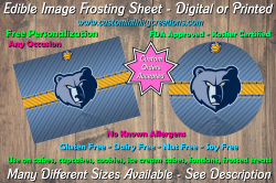 Memphis Grizzlies Basketball Edible Image Frosting Sheet #16 Cake Cupcake Topper