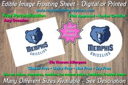 Memphis Grizzlies Basketball Edible Image Frosting Sheet #17 Cake Cupcake Topper