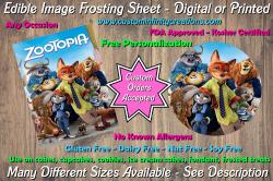 Zootopia Edible Image Frosting Sheet #1 Cake Cupcake Topper