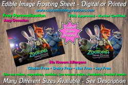 Zootopia Edible Image Frosting Sheet #2 Cake Cupcake Topper