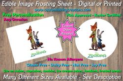 Zootopia Edible Image Frosting Sheet #3 Cake Cupcake Topper
