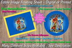 Zootopia Edible Image Frosting Sheet #6 Cake Cupcake Topper