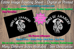 Sons of Anarchy SOA Edible Image Frosting Sheet #2 Cake Cupcake Topper