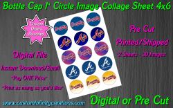 Atlanta Braves Baseball Bottle Cap 1 Circle Images #1 (digital or pre cut)