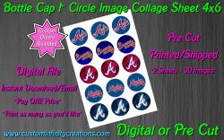 Atlanta Braves Baseball Bottle Cap 1 Circle Images #2 (digital or pre cut)