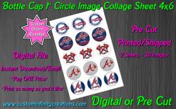 Atlanta Braves Baseball Bottle Cap 1 Circle Images #5 (digital or pre cut)