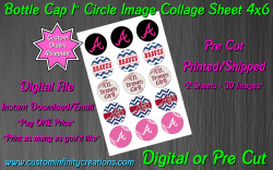 Atlanta Braves Baseball Bottle Cap 1 Circle Images #6 (digital or pre cut)