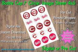 Cincinnati Reds Bottle Cap 1 Circle Images #3 (instant download or pre cut)