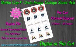Miami Marlins Baseball Bottle Cap 1 Circle Images #3 (digital or pre cut)