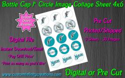 Florida Marlins Baseball Bottle Cap 1 Circle Images #4 (digital or pre cut)