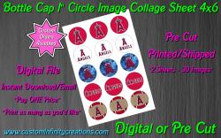 Los Angeles Angels Baseball Bottle Cap 1 Circle Images #1 (digital or pre cut)