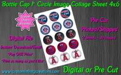Los Angeles Angels Baseball Bottle Cap 1 Circle Images #2 (digital or pre cut)