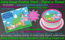 Peppa Pig Edible Image Icing Frosting Sheet #7 Cake Cupcake Cookie Topper