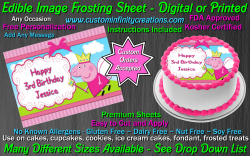 Peppa Pig Edible Image Icing Frosting Sheet #11 Cake Cupcake Cookie Topper