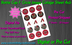 Arizona Diamondbacks Bottle Cap 1 Circle Images #2 (digital or pre cut)