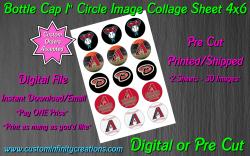 Arizona Diamondbacks Bottle Cap 1 Circle Images #3 (digital or pre cut)