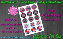 Chicago Cubs Baseball Bottle Cap 1 Circle Images Sheet #1 (digital or pre cut)