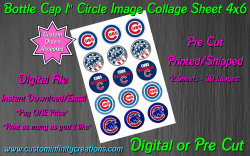 Chicago Cubs Baseball Bottle Cap 1 Circle Images Sheet #2 (digital or pre cut)