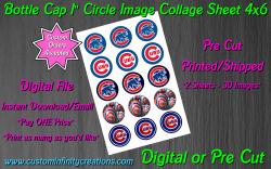 Chicago Cubs Baseball Bottle Cap 1 Circle Images Sheet #3 (digital or pre cut)