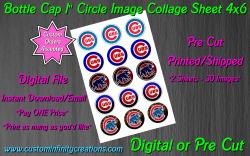 Chicago Cubs Baseball Bottle Cap 1 Circle Images Sheet #4 (digital or pre cut)