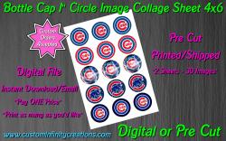 Chicago Cubs Baseball Bottle Cap 1 Circle Images Sheet #5 (digital or pre cut)