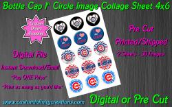 Chicago Cubs Baseball Bottle Cap 1 Circle Images Sheet #6 (digital or pre cut)