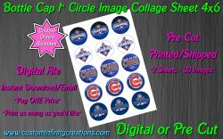 Chicago Cubs Baseball Bottle Cap 1 Circle Images Sheet #7 (digital or pre cut)