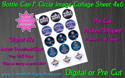 Chicago Cubs Baseball Bottle Cap 1 Circle Images Sheet #8 (digital or pre cut)