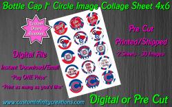 Chicago Cubs Baseball Bottle Cap 1 Circle Images Sheet #10x digital or pre cut