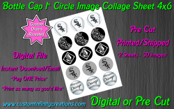 Chicago White Sox Bottle Cap 1 Circle Images Sheet #2 (digital or pre cut)