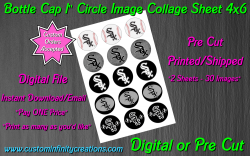 Chicago White Sox Bottle Cap 1 Circle Images Sheet #4 (digital or pre cut)