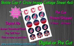 Cleveland Indians Bottle Cap 1 Circle Images Sheet #3 (digital or pre cut)