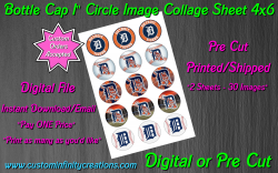 Detroit Tigers Bottle Cap 1 Circle Images Sheet #2 (digital or pre cut)