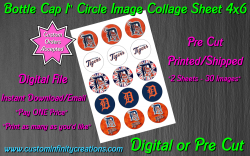 Detroit Tigers Bottle Cap 1 Circle Images Sheet #3 (digital or pre cut)