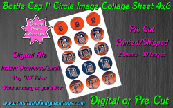 Detroit Tigers Bottle Cap 1 Circle Images Sheet #4 (digital or pre cut)