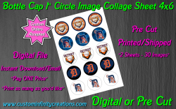 Detroit Tigers Bottle Cap 1 Circle Images Sheet #5 (digital or pre cut)