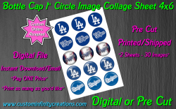 Los Angeles Dodgers Baseball Bottle Cap 1 Circle Images #1 (digital or pre cut)
