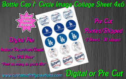 Los Angeles Dodgers Baseball Bottle Cap 1 Circle Images #2 (digital or pre cut)