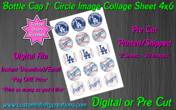 Los Angeles Dodgers Baseball Bottle Cap 1 Circle Images #4 (digital or pre cut)