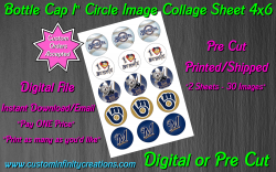 Milwaukee Brewers Baseball Bottle Cap 1 Circle Images #8 (digital or pre cut)