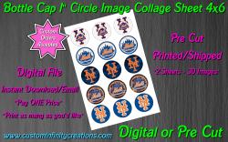 New York Mets Baseball Bottle Cap 1 Circle Images #1 (digital or pre cut)
