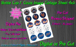 New York Mets Baseball Bottle Cap 1 Circle Images #2 (digital or pre cut)