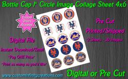 New York Mets Baseball Bottle Cap 1 Circle Images #3 (digital or pre cut)