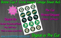 Oakland Athletics Baseball Bottle Cap 1 Circle Images #1 (digital or pre cut)