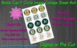 Oakland Athletics Baseball Bottle Cap 1 Circle Images #2 (digital or pre cut)