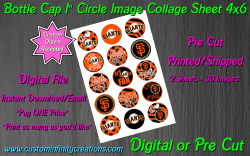 San Francisco Giants Baseball Bottle Cap 1 Circle Images #1x digital or pre cut