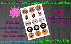 San Francisco Giants Baseball Bottle Cap 1 Circle Images #3 digital or pre cut