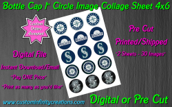 Seattle Mariners Baseball Bottle Cap 1 Circle Images #1 (digital or pre cut)