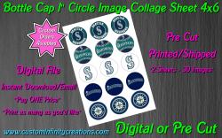 Seattle Mariners Baseball Bottle Cap 1 Circle Images #2 (digital or pre cut)